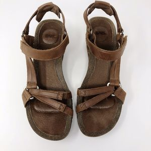 Teva Brown Leather Strappy Wedge Sandals - Size 8